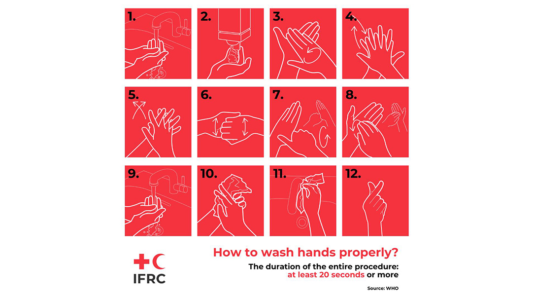 Drawings of how to wash your hands to help prevent the spread of coronavirus, supplied by the International Federation of Red Cross and Red Crescent Societies.