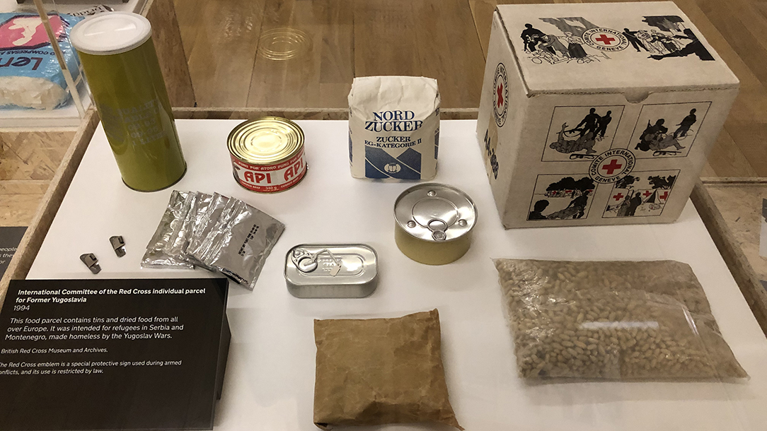 Food parcel from Forced to Flee exhibition