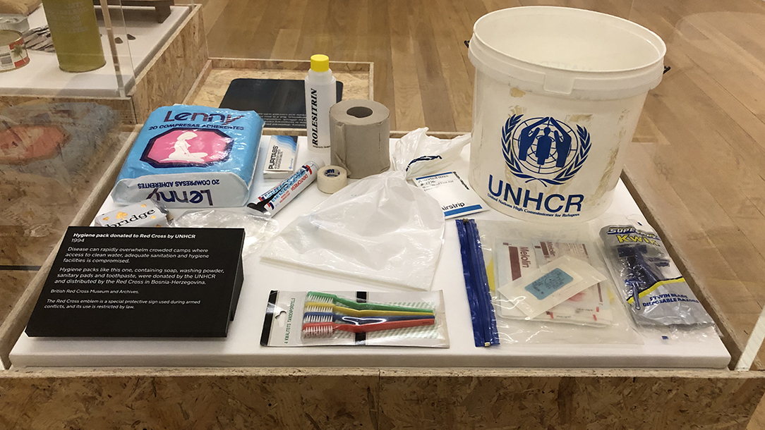 Hygiene pack from Forced to Flee exhibition