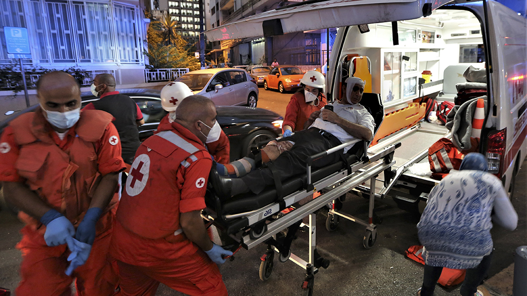 A Lebanese Red Cross ambulance crew