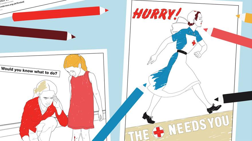 Graphic of two historic Red Cross posters half coloured in