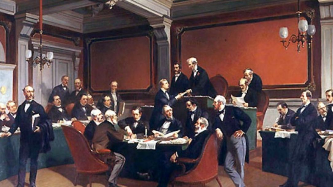 A painting showing the signing of the Geneva convention in 1984 by Armand Dumaresq