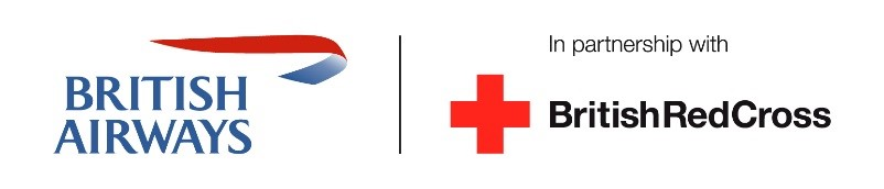 British Airways and British Red Cross logos.