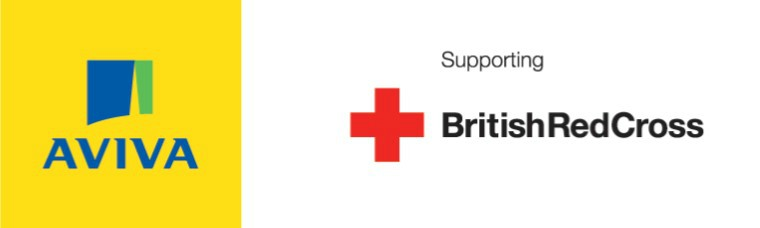Image with the Aviva and British Red Cross logo, and the words supporting British Red Cross.
