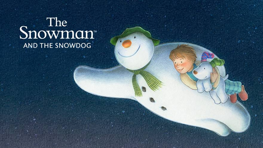 The Snowman, Snowdog and a little boy flying through the air