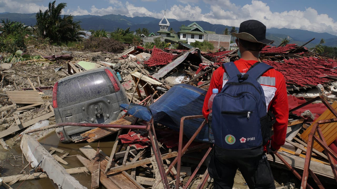 An aid worker looks at the damage following the tsunami