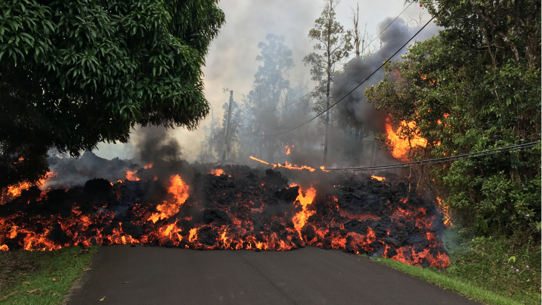 Lava covers the road.