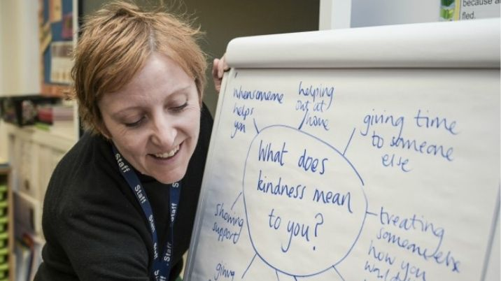 A teacher from Sudbourne Primary School carries out a British Red Cross Power of Kindness exercise on a drawing board.