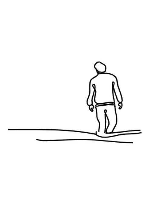 line drawing of friends walking