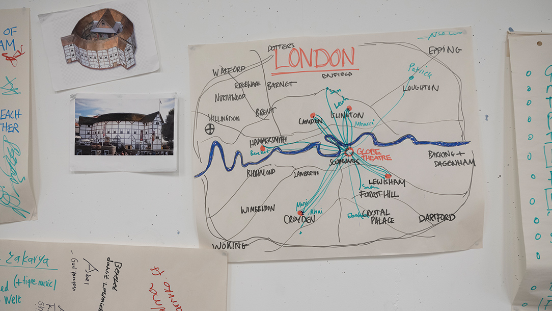 A map by drawn young refugees showing where they have come from in the world.
